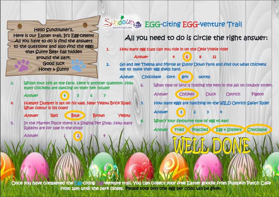 Easter answers page 1 2018 Easter at Sundown Adventureland
