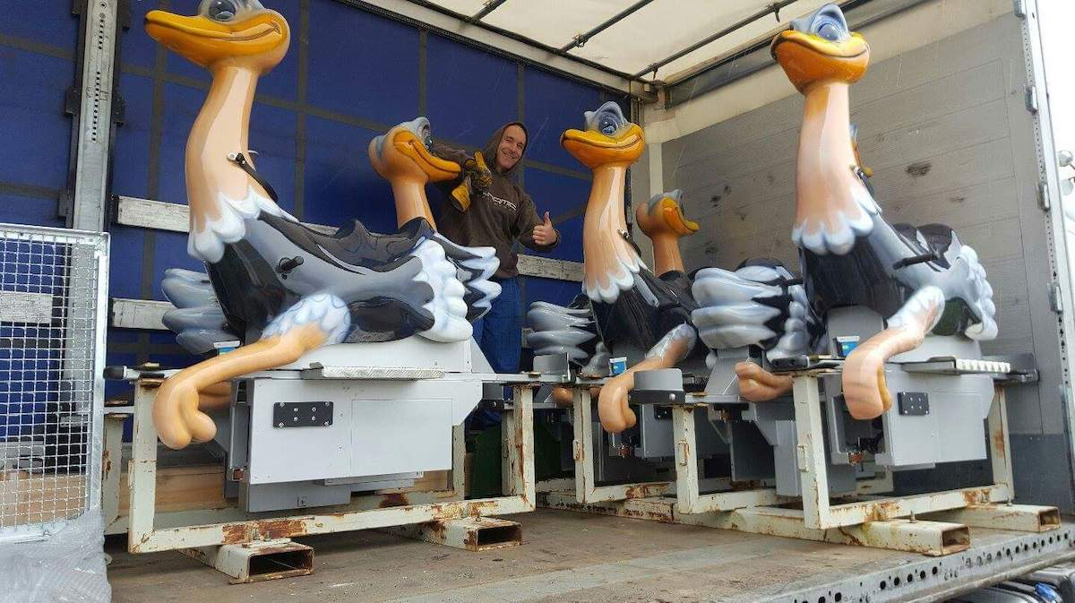 Delivery of the ostriches for the wild ostrich ride at Sundown Adventureland Kids theme park